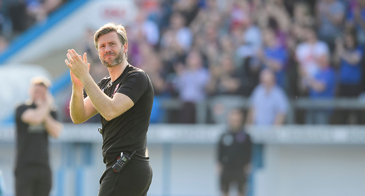 Lincoln City's assistant manager Nicky Cowley applauds the fans at the final whistle<br /> <br /> Photographer Chris Vaughan/CameraSport<br /> <br /> The EFL Sky Bet League Two - Carlisle United v Lincoln City - Friday 19th April 2019 - Brunton Park - Carlisle<br /> <br /> World Copyright © 2019 CameraSport. All rights reserved. 43 Linden Ave. Countesthorpe. Leicester. England. LE8 5PG - Tel: +44 (0) 116 277 4147 - admin@camerasport.com - www.camerasport.com