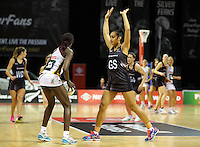 28.07.2015 Silver Ferns Malia Paseka in action during the Silver Fern v South Africa netball test match played at Trusts Arena in Auckland. Mandatory Photo Credit ©Michael Bradley.