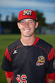 Batavia Muckdogs catcher David Gauntt (46) poses for a photo before a game against the West Virginia Black Bears on June 30, 2016 at Dwyer Stadium in Batavia, New York.  Batavia defeated West Virginia 4-3.  (Mike Janes/Four Seam Images)