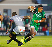 9th September 2017, Galway Sportsground, Galway, Ireland; Guinness Pro14 Rugby, Connacht versus Southern Kings; Bundee Aki  (Connacht) gets past Luzuko Vulindlu (Southern Kings)