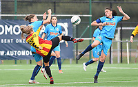 20191005  -  Diksmuide , BELGIUM :  Famkes Sofie Huyghebaert and Lisa Coppein (left) pictured in a duel with Mechelen's Pure Eke during a footballgame between the womensoccer teams from Famkes Westhoek Diksmuide Merkem and KV Mechelen Ladies A , on the 5th matchday in the first division , 1e nationale , in Diksmuide - Belgium - saturday 5th october 2019 . PHOTO DAVID CATRY   Sportpix.be
