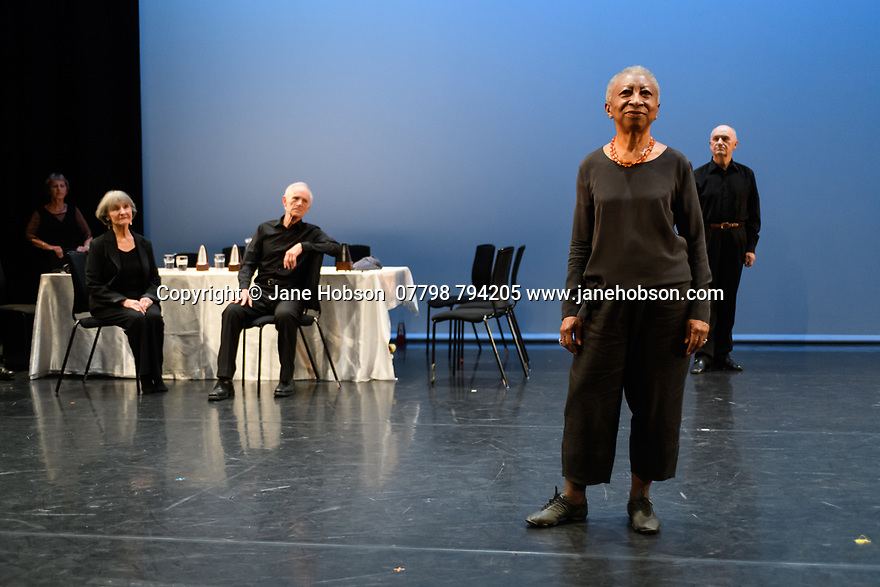 "London, UK. 14.06.2019. The Company of Elders, Sadler's Wells over-60s performance company, opens the ""Elixir Extracts Festival"", in the Lilian Baylis Studio. They perform two pieces: Choreographer, Alesandra Seutin's, ""Dare I Speak"", and Portuguese choreographer, Clara Andamatt's ""Natural"". The Company of Elders celebrate their 30th anniversary this year. The piece shown is: ""Natural"". Photograph © Jane Hobson."