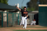Modesto Nuts third baseman Joe Rizzo (20) warms up between innings of a California League game against the San Jose Giants at John Thurman Field on May 9, 2018 in Modesto, California. San Jose defeated Modesto 9-5. (Zachary Lucy/Four Seam Images)