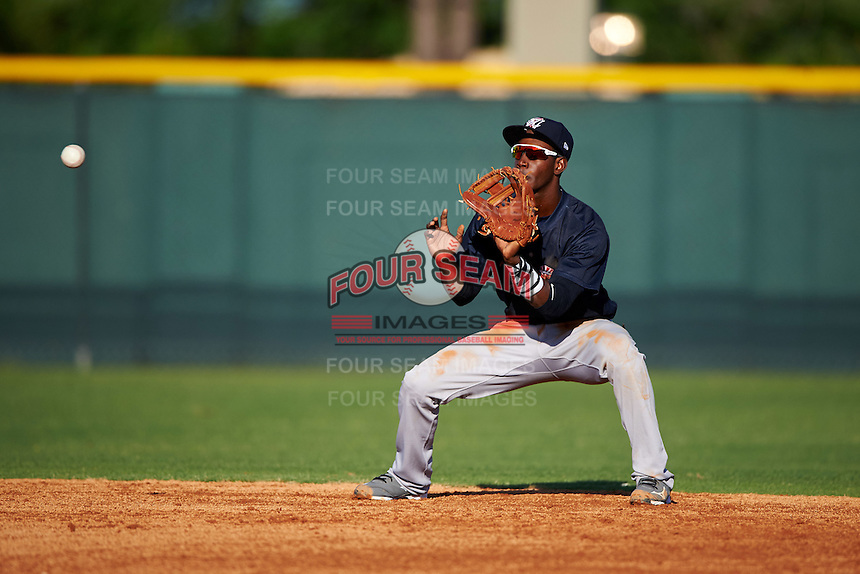 Tampa Yankees shortstop Jorge Mateo (14) catches a ball during a game against the Lakeland Flying Tigers on April 7, 2016 at Henley Field in Lakeland, Florida.  Tampa defeated Lakeland 9-2.  (Mike Janes/Four Seam Images)