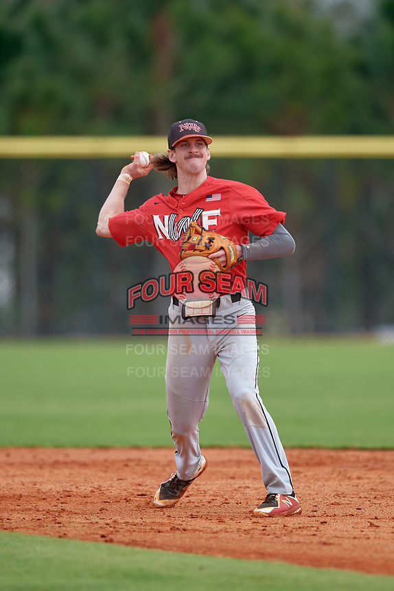 Northwest Florida Raiders shortstop Brock Franks (11) throws to first base during a game against the St. Petersburg Titans on January 31, 2020 at Lake Myrtle Sports Park in Auburndale, Florida.  Northwest Florida defeated St. Petersburg 5-1.  (Mike Janes/Four Seam Images)