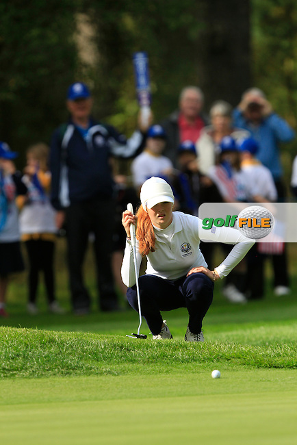 Mathilda Capelliez (FRA) on the 3rd green of the Mixed Fourballs during the 2014 JUNIOR RYDER CUP at the Blairgowrie Golf Club, Perthshire, Scotland. <br /> Picture:  Thos Caffrey / www.golffile.ie