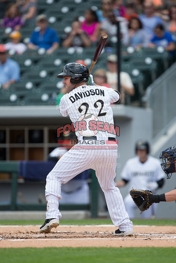 Matt Davidson (22) of the Charlotte Knights at bat against the Gwinnett Braves at BB&T BallPark on May 22, 2016 in Charlotte, North Carolina.  The Knights defeated the Braves 9-8 in 11 innings.  (Brian Westerholt/Four Seam Images)