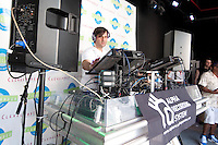 The 25th Annual Winter Music Conference kick-off event with DJ Jamie Lewis pumping up the crowd at the Clevelander in South Beach, Miami Beach, Florida, March 23, 2010. Photo by Debi Pittman Wilkey