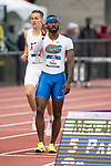 EUGENE, OR - JUNE 09: Eric Futch of the University of Florida celebrates his first place finish in the 400 meter hurdles during the Division I Men's Outdoor Track & Field Championship held at Hayward Field on June 9, 2017 in Eugene, Oregon. Futch won the event with a 48.32 time. (Photo by Jamie Schwaberow/NCAA Photos via Getty Images)