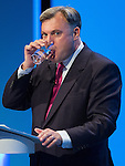 © Joel Goodman - 07973 332324 . 23/09/2013 . Brighton , UK . ED BALLS , MP for Morley and Outwood and Shadow Chancellor of the Exchequer , addresses the conference this afternoon (Monday 23rd September 2013) . Day 2 of the Labour Party 's annual conference in Brighton . Photo credit : Joel Goodman