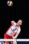 13.09.2019, Paleis 12, BrŸssel / Bruessel<br />Volleyball, Europameisterschaft, Belgien (BEL) vs. …sterreich / Oesterreich (AUT)<br /><br />Aufschlag / Service Peter WohlfahrtstŠtter / Wohlfahrtstaetter (#3 AUT)<br /><br />  Foto © nordphoto / Kurth