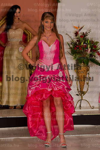 Kitti Csonka participates the Miss Hungary beauty contest held in Budapest, Hungary on December 29, 2011. ATTILA VOLGYI