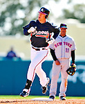 3 March 2010: Atlanta Braves' infielder Brandon Hicks hits a two-run homer during a Grapefruit League game against the New York Mets at Champion Stadium in the ESPN Wide World of Sports Complex in Orlando, Florida. The Braves defeated the Mets 9-5 in the Spring Training matchup. Mandatory Credit: Ed Wolfstein Photo