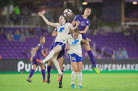Orlando, FL - Saturday June 03, 2017: Rose Lavelle, Rosie White, Alanna Kennedy during a regular season National Women's Soccer League (NWSL) match between the Orlando Pride and the Boston Breakers at Orlando City Stadium.