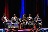 September 8, 2011 (Washington, DC)  Howard and Morehouse students take part in breakout seesion of The Presidential Symposium: Beyond the Stereotypes-Academics, Athletics, Character and Black Male Achievement held at Howard University's Crampton Auditorium.   The symposium, presented by Howard University and Morehouse College, was a day-long discussion that included scholars, students, actors and sports columnists, and preluded the AT&T Nations Football Classic between Howard and Morehouse.  (L-R) Ryan Boles, Morehouse College; Travis Randle, President, Morehouse College Student Government Association; Dr. Stephane Dunn, Assistant Professor, Morehouse College, Department of English; Derrien Hinton, Vice-President, Howard University Student Government Association; Brandon Harris, President, Howard University Student Government Association.   (Photo by Don Baxter/Media Images International)
