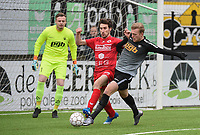 FC GULLEGEM - RC GENT :<br /> Gent doelman Kevin Frans (L) kijkt aandachtig toe hoe Oleksandr Beshliaha (R) Nicolas Gheeraert (M) ongevaarlijk maakt<br /> <br /> Foto VDB / Bart Vandenbroucke
