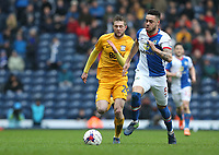 Preston North End's Tom Barkhuizen and Blackburn Rovers' Derrick Williams<br /> <br /> Photographer Stephen White/CameraSport<br /> <br /> The EFL Sky Bet Championship - Blackburn Rovers v Preston North End - Saturday 18th March 2017 - Ewood Park - Blackburn<br /> <br /> World Copyright &copy; 2017 CameraSport. All rights reserved. 43 Linden Ave. Countesthorpe. Leicester. England. LE8 5PG - Tel: +44 (0) 116 277 4147 - admin@camerasport.com - www.camerasport.com