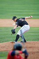 Erie SeaWolves relief pitcher John Schreiber (35) delivers a pitch during a game against the New Hampshire Fisher Cats on June 20, 2018 at UPMC Park in Erie, Pennsylvania.  New Hampshire defeated Erie 10-9.  (Mike Janes/Four Seam Images)