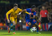 Australia Mathew Leckie and Colombia Lerma during the International Friendly match between Colombia and Australia at Craven Cottage, London, England on 27 March 2018. Photo by Andrew Aleksiejczuk / PRiME Media Images.
