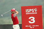 Tournament leader Liam Bond hits his tee shot to the 3rd hole during the second round of the ISPS Handa Wales Open 2013 at the Celtic Manor Resort<br /> <br /> 30.08.13<br /> <br /> ©Steve Pope-Sportingwales
