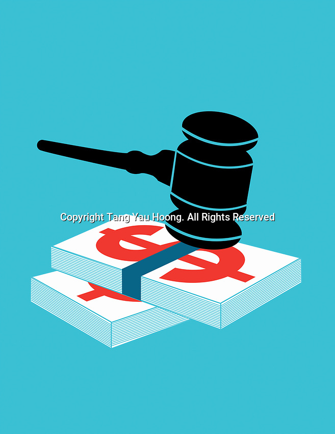 Gavel on top of pile of money