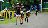 11 AUG 2013 - BIRMINGHAM, GBR - Sutton Atkins (left)  of East Midlands Racing celebrates winning the Senior Men's 10,000m Points Final at the 2013 Federation of Inline Speed Skating British Outdoor Championships held in the Birmingham Wheels Park, Birmingham, Great Britain (PHOTO COPYRIGHT © 2013 NIGEL FARROW, ALL RIGHTS RESERVED)