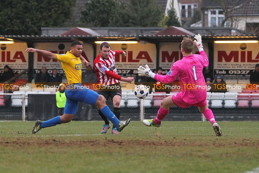 Martin Tuohy goes close to a goal for Hornchurch - AFC Hornchurch vs Staines Town - Blue Square Conference South Football at The Stadium, Upminster Bridge, Essex - 23/02/13 - MANDATORY CREDIT: Gavin Ellis/TGSPHOTO - Self billing applies where appropriate - 0845 094 6026 - contact@tgsphoto.co.uk - NO UNPAID USE.