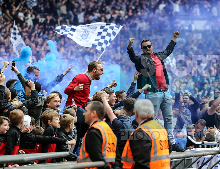 Millwall's fans celebrate their sides opening goal during the League One Play-Off Final match at Wembley Stadium, London. Picture date: May 20th, 2017. Pic credit should read: David Klein/Sportimage