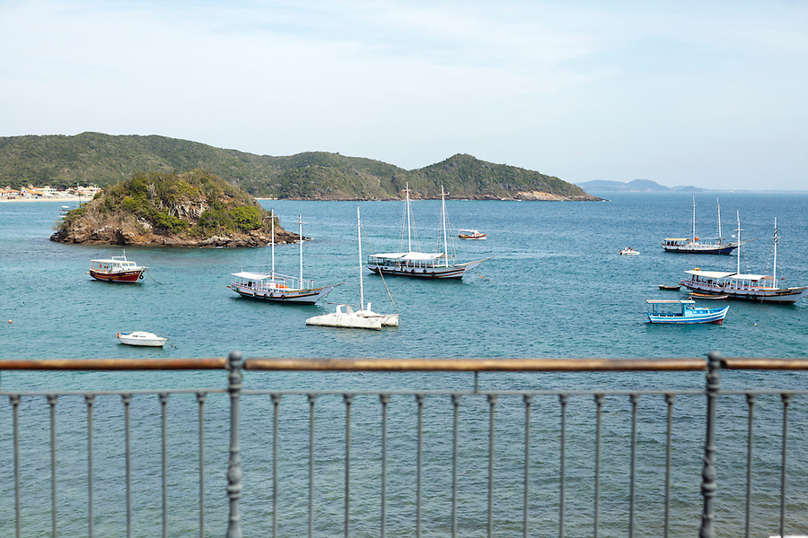 View of fishing boats in Buzios Bay from Casa Brancas Boutique Hotel and Spa