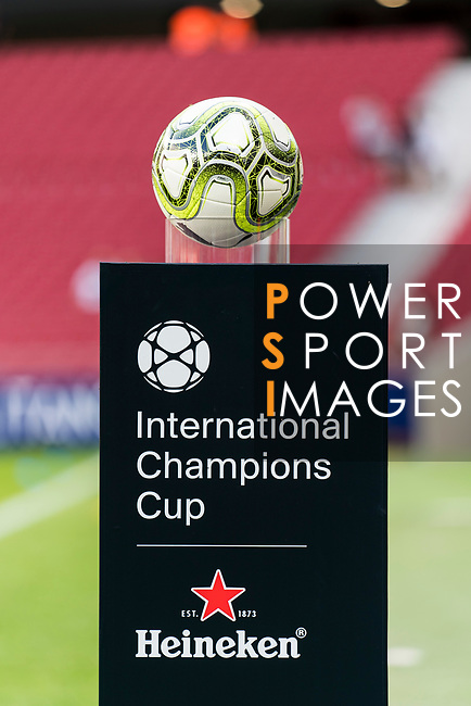 The match ball is seen prior to their International Champions Cup Europe 2018 match between Atletico de Madrid and FC Internazionale at Wanda Metropolitano on 11 August 2018, in Madrid, Spain. Photo by Diego Souto / Power Sport Images