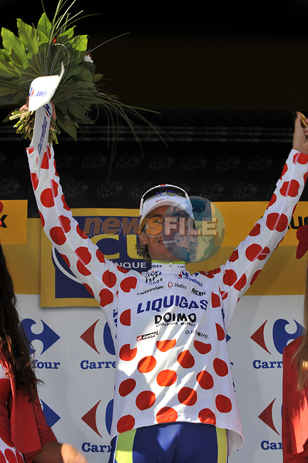 Franco Pellizotti (ITA) Liquigas retains the Polka Dot Jersey after the finish on Mont Ventoux at the end of Stage19 of the Tour de France 2009 running 167km from Montelimar to Mont Ventoux, France. 25th July 2009 (Photo by Eoin Clarke/NEWSFILE)