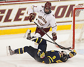 Jace Hennig (Merrimack - 9), Ian McCoshen (BC - 3) - The Boston College Eagles defeated the visiting Merrimack College Warriors 2-1 on Wednesday, January 21, 2015, at Kelley Rink in Conte Forum in Chestnut Hill, Massachusetts.