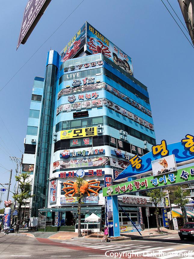 Fischrestaurant am  Hafen von Sokcho, Provinz Gangwon, S&uuml;dkorea, Asien<br /> Restaurant, port of  Sokcho, province Gangwon, South Korea, Asia