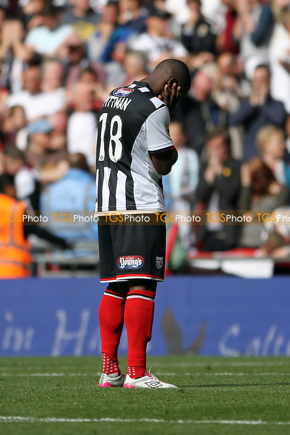 Jon-Paul Pittman of Grimsby Town fails to score his spot kick - Grimsby Town vs Bristol Rovers - Vanarama Conference Promotion Play-Off Final at Wembley Stadium, London - 17/05/15 - MANDATORY CREDIT: Mick Kearns/TGSPHOTO - Self billing applies where appropriate - contact@tgsphoto.co.uk - NO UNPAID USE