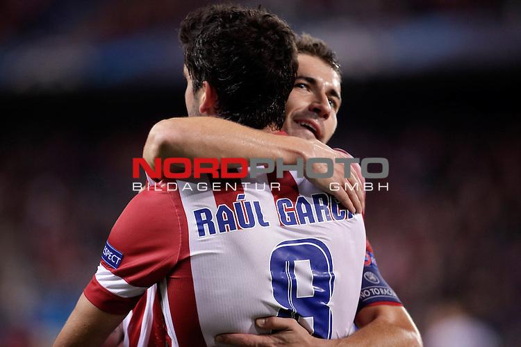Atletico de Madrid's  Raul Garcia (R) celebrates a goal during Champions League 2013/2014 match. November 06,2013. Foto © nph / Victor Blanco) *** Local Caption ***