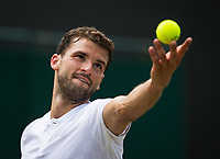 Gregor Dimitrov (13) of Bulgaria in action during his victory over Dudi Sela of Israel in their Men's Singles Third Round Match today - Dimitrov def Sela 6-1, 6-1 retired<br /> <br /> Photographer Ashley Western/CameraSport<br /> <br /> Wimbledon Lawn Tennis Championships - Day 6 - Saturday 8th July 2017 -  All England Lawn Tennis and Croquet Club - Wimbledon - London - England<br /> <br /> World Copyright &not;&copy; 2017 CameraSport. All rights reserved. 43 Linden Ave. Countesthorpe. Leicester. England. LE8 5PG - Tel: +44 (0) 116 277 4147 - admin@camerasport.com - www.camerasport.com
