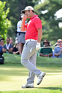 Bethesda, MD - June 26, 2016: John Rahm is upset after just missing a chip shot on the seventeenth hole for par during Final Round of play at the Quicken Loans National Tournament at the Congressional Country Club in Bethesda, MD, June 26, 2016.  (Photo by Don Baxter/Media Images International) (Photo by Philip Peters/Media Images International)