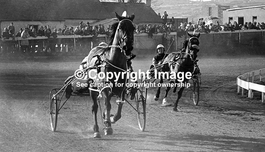 Harness racing at Lambeg Stadium, Lisburn, N Ireland, UK, 197504010790a..Copyright Image from Victor Patterson, 54 Dorchester Park, Belfast, United Kingdom, UK...For my Terms and Conditions of Use go to http://www.victorpatterson.com/Victor_Patterson/Terms_%26_Conditions.html