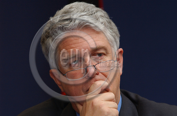 Brussels-Belgium - July 16, 2004--- Caio Kai KOCH-WESER, Chairman of the Economic and Financial Committee (ECOFIN) and State Secretary at the German Federal Ministry of Finance; during a press briefing at the 'Justus Lipsius', seat of the Council of the European Union in Brussels---Photo: Horst Wagner/eup-images