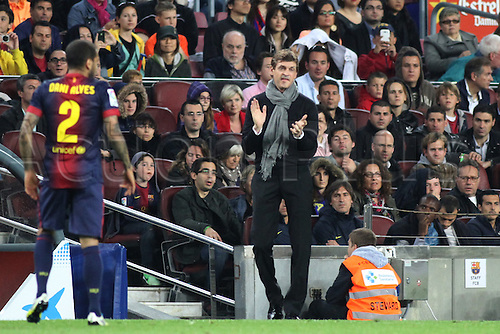 05.05.2013 Barcelona, Spain. Manager Vilanova with a positive message for his players during the Spanish La Liga game between Barcelona and Real Betis from Nou Camp.