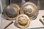 Three bronze phalarae found in the River Avon in Melksham, part of the Melksham Hoard. With permission of Wiltshire Museum, Devizes, England, UK.