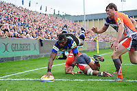 Semesa Rokoduguni of Bath Rugby touches the ball down over the try-line. Aviva Premiership match, between Bath Rugby and Newcastle Falcons on September 10, 2016 at the Recreation Ground in Bath, England. Photo by: Patrick Khachfe / Onside Images