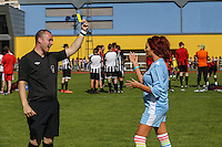 London, UK on Sunday 31st August, 2014. Amy Childs receives a yellow card from the referee during the Soccer Six charity celebrity football tournament at Mile End Stadium, London.