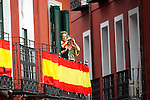 Neighbors of the city of Valladolid watch from your balcony during a military parade marking the Armed Forces Day on June 2, 2012 in Valladolid.(ALTERPHOTOS/Acero)