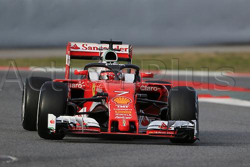 03.03.2016. Barcelona, Spain. Formula 1 Winter Testing at Circuit de Barcelona Catalunya Test 2 Day 3.  Scuderia Ferrari SF16-H – Kimi Raikkonen with halo device fitted