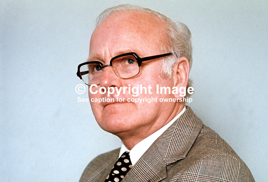 William Morgan, Ulster Unionist, candidate, North Belfast, in N Ireland Convention Eelection, 1st May 1975. Taken: March 1975. 19750300104WM2<br />