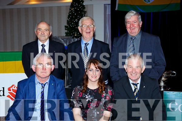 Former Secretarys at the Kerry Coiste na nÓg 50th anniversary celebrations in the Gleneagle Hotel on Saturday night  Tadhg O'Halloran, Mags Evans, Muiris O'Sullivan. Back row: Liam Sayers, Willie O'Connor and John Linehan