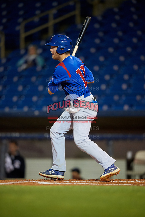 South Bend Cubs left fielder Brandon Hughes (11) hits a single up the middle during the second game of a doubleheader against the Lake County Captains on May 16, 2018 at Classic Park in Eastlake, Ohio.  Lake County defeated South Bend 5-2.  (Mike Janes/Four Seam Images)