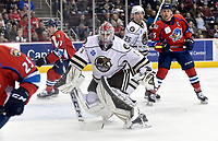 HERSHEY, PA - DECEMBER 01: Hershey Bears goalie Ilya Samsonov (1) comes out of the goal crease to face a shot during the Springfield Thunderbirds at Hershey Bears on December 1, 2018 at the Giant Center in Hershey, PA. (Photo by Randy Litzinger/Icon Sportswire)