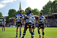 Semesa Rokoduguni of Bath Rugby celebrates his first try of the match. Aviva Premiership match, between Bath Rugby and Saracens on September 9, 2017 at the Recreation Ground in Bath, England. Photo by: Patrick Khachfe / Onside Images